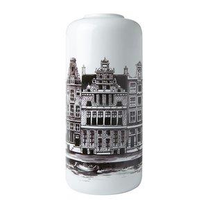 Heinen Delftware Stylish Cylinder vase Amsterdam canal belt 30.5cm