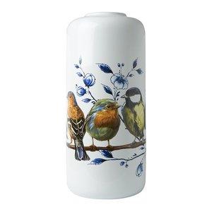 Heinen Delftware Stijlvolle Cilinder vaas Bosvogels 30 cm