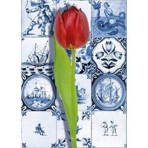 Heinen Delftware Enkele kaart - Delfts blauw - Klassiek met Rode Tulp