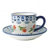 Heinen Delftware Cup and saucer orange tulip - Porcelain