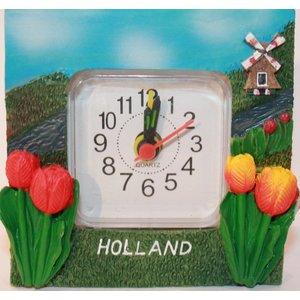 Typisch Hollands Tafel-Buro-klokje Holland - Molen en Tulpen