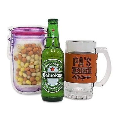 www.typisch-hollands-geschenkpakket.nl Gift package Beer-Glass and Nuts - Pa`s Bier - don't touch it!