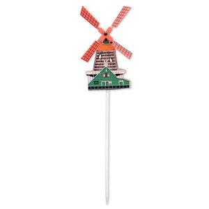 Typisch Hollands Wooden Windmill on stick - Large (green)