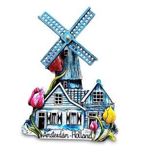 Typisch Hollands Magneet Holland - Amsterdam Molen (draaiend)