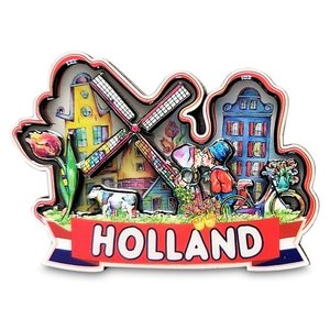 Typisch Hollands Magneet Holland  -Kuspaar - Molen en Huisjes