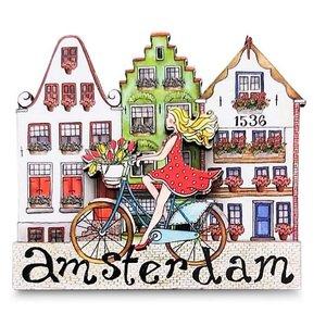 Typisch Hollands Magneet  Grachtenhuisjes - Dame op de fiets