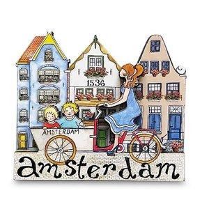 Typisch Hollands Magneet  Grachtenhuisjes - Dame op bakfiets