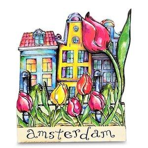 Typisch Hollands Magneet Amsterdam - Gevelhuisjes - Tulpen