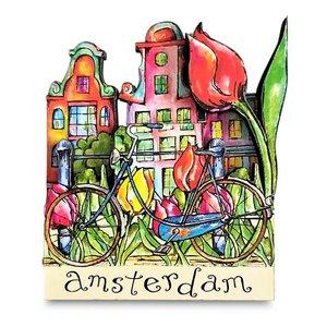 Typisch Hollands Magneet Amsterdam - Gevelhuisjes - Fiets