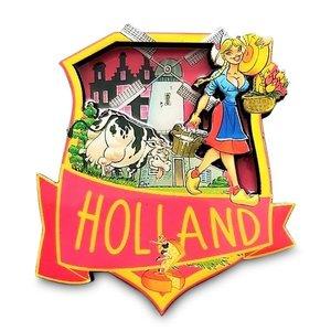 Typisch Hollands Magnet - Dutch Emblem (Holland cheese girl)