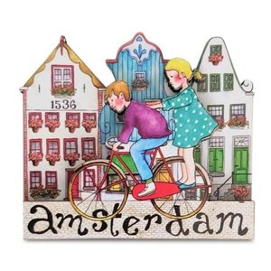 Typisch Hollands Magneet  Grachtenhuisjes - Kinderen op fiets