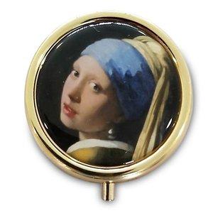 Typisch Hollands Pillendoos  - Goudkleurig - Meisje met de parel