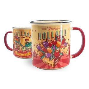 Typisch Hollands Große Tasse in Geschenkbox - Vintage Holland Tulpen und Fahrrad