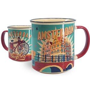 Typisch Hollands Große Tasse in Geschenkbox - Vintage Amsterdam Türkis