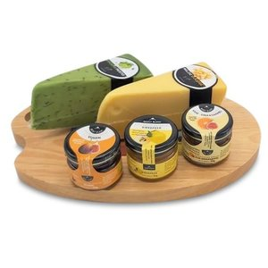 www.typisch-hollands-geschenkpakket.nl Cheese palette gift set with Cheese Boats and Dippers