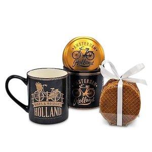 Typisch Hollands Geschenkset Becher und Blech Stroopwafels