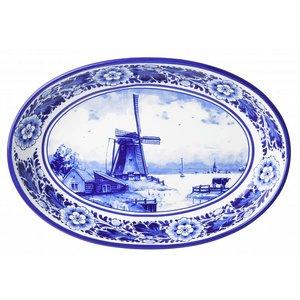 Heinen Delftware Serveerschaal Delfts Blauw -Molenlandschap