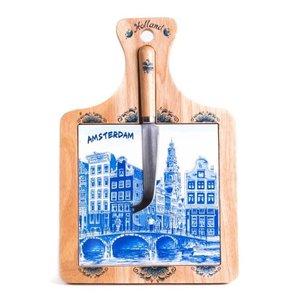 Typisch Hollands Kaasplank met mesje - Delfts blauw - Amsterdam
