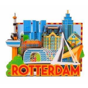 Typisch Hollands Magneet MDF Rotterdam 'Skyline'