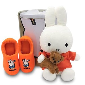Nijntje (c) XXL - Tin - with Miffy gifts - Cuddly toy and Booties -Orange