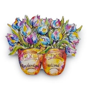 Typisch Hollands Magnet -Clogs and Tulips / Holland-Amsterdam