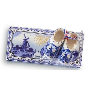 Typisch Hollands Holland Giftpack - Chocolade en Delfts blauw klompje