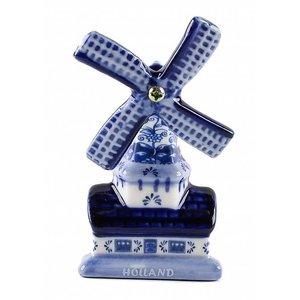 Typisch Hollands Magneet Molen - Delfts blauw