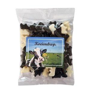 Typisch Hollands Koeiendrop zwart/wit 200 gram in  zakje.