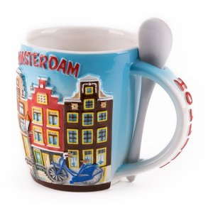 Typisch Hollands Mug with Spoon - Amsterdam canal houses