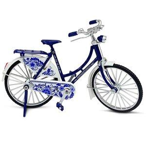 Typisch Hollands Miniatuurfiets - 18 cm - Delfts blauw