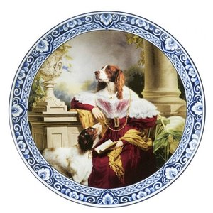 Heinen Delftware Bord Lady Springer Spaniel Ø 26 cm