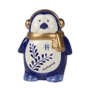 Typisch Hollands Christmas decoration - Penguin ear warmer Holland blue gold 17 cm