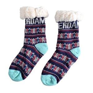 Holland sokken Fleece Comfortsokken - Gevelhuisjes - Blauw