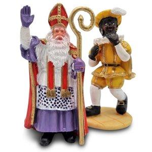 Typisch Hollands Sinterklaas en Piet  met geel kostuum.