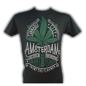 Souvenirs T-Shirts T-Shirt Amsterdam Cannabis (Free Bong)