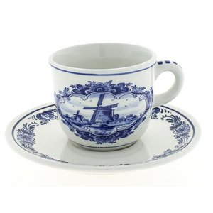 Typisch Hollands Delft blue cup and saucer