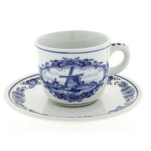 Typisch Hollands Delfter blaue Tasse und Untertasse