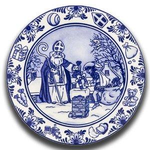 Typisch Hollands Wandbord Sinterklaas Delfts blauw