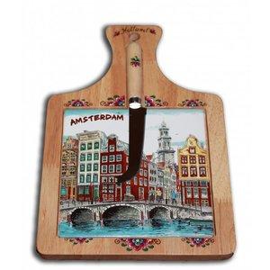 Typisch Hollands Kaasplank groot met mes Amsterdam