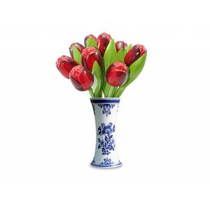 Typisch Hollands 9 wooden tulips in a Delft blue vase