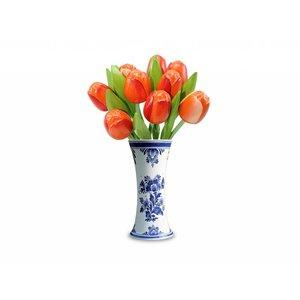 Typisch Hollands 9 hölzerne Tulpen in einer blauen Delfter Vase