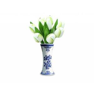 Typisch Hollands 9 Tulpen aus Holz in einem Delft blauen Vase