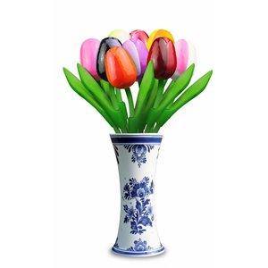 Heinen Delftware 9 small wooden tulips in Delft blue vase