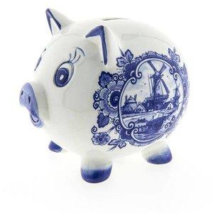 Typisch Hollands Sparschwein - Delfter Blau