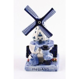 Typisch Hollands Delft Blue Mill With Kissing Couple