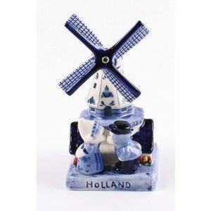 Typisch Hollands Delfts Blauwe Molen met Kussend Paar