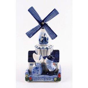 Typisch Hollands Delfts blauwe molen met muziek - kuspaar