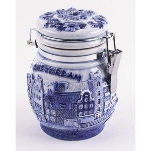 Typisch Hollands Delfts blauwe weckpot 10 cm Amsterdam