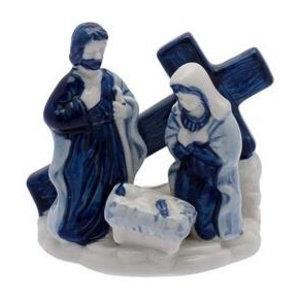 Heinen Delftware Holy Family met Kruis