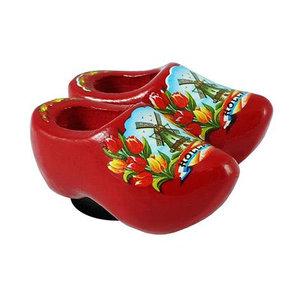 Typisch Hollands Magneet 2 Klompjes - Rood